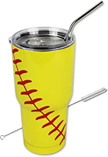 Softball Tumbler Cup 30oz Gift for Mom Men Sports Travel Coffee Mug, Stainless Steel, Vacuum Insulated, Keeps Water Cold for 24, Stainless Steel Straw and Cleaner(Softball)