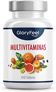 Multivitaminas y Minerales - 450 Comprimidos Veganos (Suministro para 1+ año) - Todas las Vitaminas A,B,C,D3,E, Calcio, Zi...
