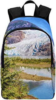 InterestPrint Mendenhall Glacier with Pine Tree in Foreground Casual Backpack Shoulder School Bag Travel Daypack