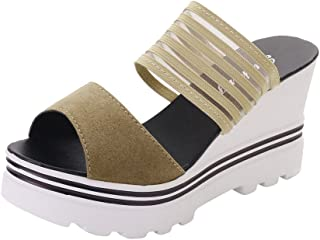 High Heels Wedges Sandals for Women Fish Mouth Platform Open Toe Shoes Slippers