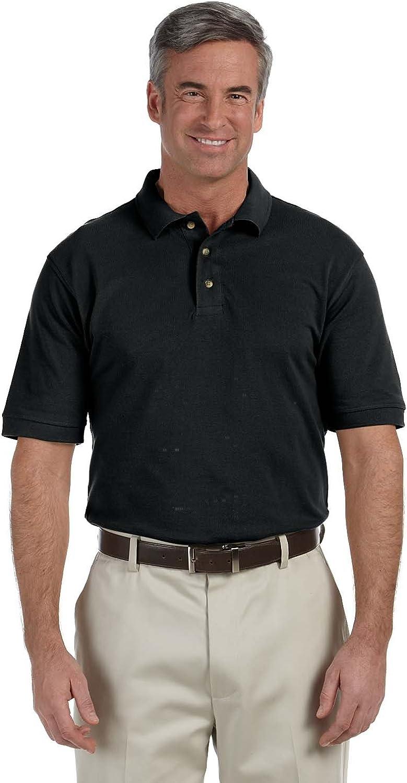 Harriton Tall 6 oz. Ringspun Cotton Piqué Short-Sleeve Polo (M200T)- BLACK,3XT