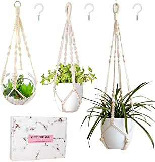 Bouqlife Macrame Plant Hangers no Tassel Set of 3 Different Size Indoor Outdoor Hanging Planter Holder Gift Box