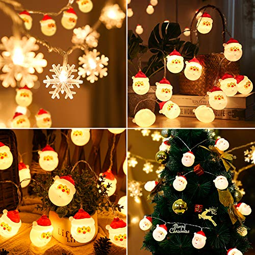Christmas Santa String Lights, Battery Operated Decorations Lights for Xmas, 10ft Warm White Fairy Lights for Christmas Tree Indoor Outdoor Party Wedding New Year Décor (Santa) 4