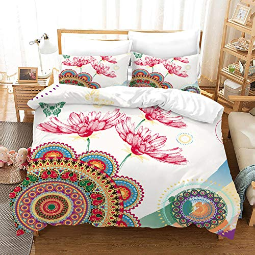 QXbecky 3D Bohemian Ethnic Elephant Persian Bedding Soft Microfiber Quilt Cover Pillowcase 3-Piece Set of Twin beds