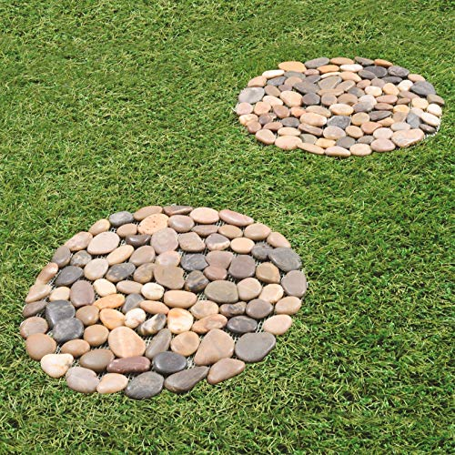 Burwells Set of 2 Round Pebble Stepping Stones - Circular Garden Lawn Rock Slabs