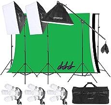 Andoer Iluminación Fotográfica Softbox Kit, Sistema de Montaje de Estudio Fotográfico, Retratos y Video, con Sistema de Soporte de 2m x 3m para Fondos en Movimiento con Bolsa de Transporte