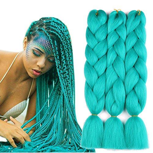 Sharopul Original Jumbo Braids Hair Extension 3pcs Pure Solid Cyan Blue Color 24inch 100g/pc For Twist Box Braiding Hair (cyan blue)