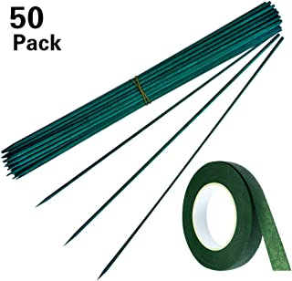 SHEN RONG Green Wood Plant Stake,Garden Stakes, Floral Picks, Floral Plant Support Wooden,Wooden Sign Posting Garden Sticks and 30 Yard Dark Green Flower Paper Tape (50, 12inch)