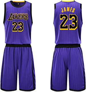 LVADE Jersey,23#James,24#Kobe,0#Kuzma,3#Davis,21#Howard,White,Yellow,Purple,Black,Suit, Basicball Wear,Sportswear,Team Uniform-Purple-James#23-XXL