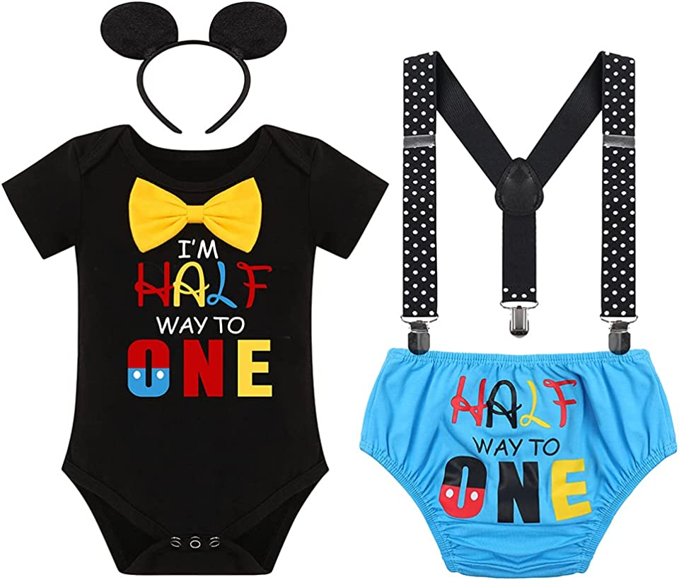 Baby Boys Half 1st 2nd Birthday Cake Smash Outfit Bowtie Romper Suspenders Shorts Headband Costume for Photo Props Party