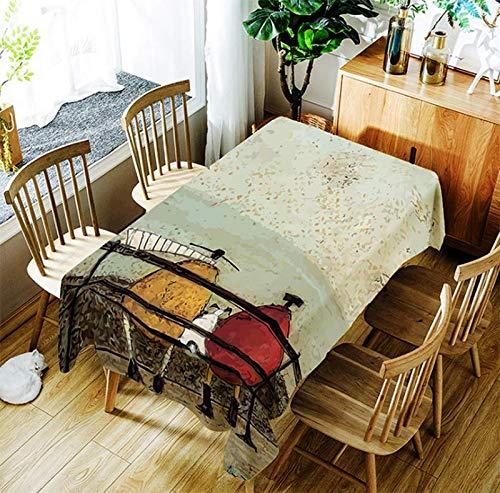 JUNGEN Mantel de Mesa con Estampado de carácter Vintage Mantel Rectangular 150x210cm Mantel Antimanchas Mantel Impermeable para Decoracion de Cocina Comedor Salon