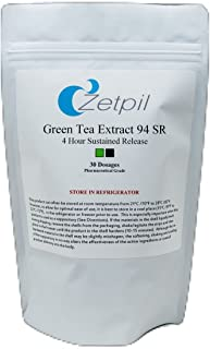 Zetpil Green Tea Sustained Release Suppositories, 400 mg, Super Absorption, No Degradation, Fat Burner, Weight Loss, Antioxidant, EGCG, 30 Count