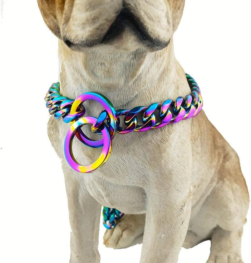 Stainless Steel outlet P Chock Metal Dog Max 73% OFF Chain Necklace Walking Collars