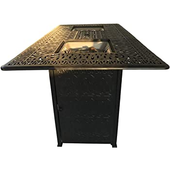 Outdoor Fire Pit Bar Height Double Burner Table Elisabeth Cast Aluminum Patio Furniture