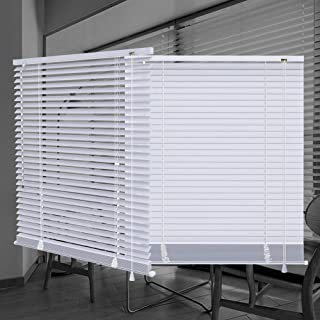 "SEEYE Horizontal Venetian Slat Light Filtering Mini Window Blinds Cellular Shade Anti-UV Aluminum Easy to Install 42"" x 64"",White"