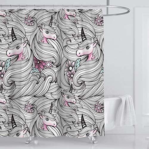 Whim-Wham Kreativer Einhorn Duschvorhang Weiß Rosa Pferd Zebras Duschvorhang Prinzessin Traum Märchen Wasserdicht Blickdicht Geruchlos Kreativ Duschvorhang