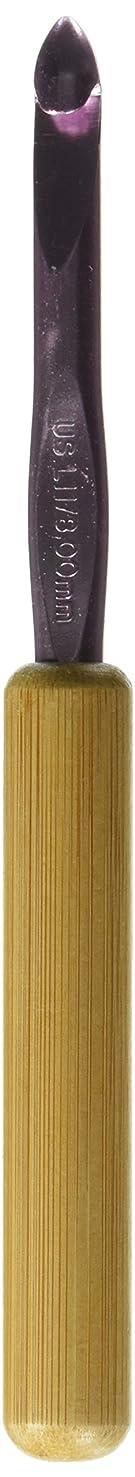 Susan Bates 5-1/2-Inch Bamboo Handle Silvalume Head Crochet Hook, 8mm, Silver Pink (13206-L 11)