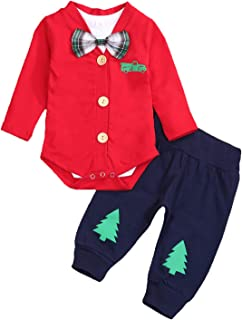 Kids Newborn Baby Boys Christmas Outfit Xmas Gentleman Tie Bodysuit Romper+Pants Winter Clothes Set