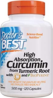 Doctor's Best Curcumin From Turmeric Root, Non-GMO, Gluten Free, Soy Free, Joint support, 500mg Caps with C3 Complex & Bio...