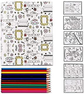 WZHH [25th Anniversary Ed] Friends TV Show Merchandise Notebook with 'Friends' Themed Coloring Pages (6 Pack)+12 Count Col...