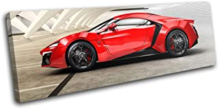 Bold Bloc Design - Lykan Hypersport Exotic Supercar Cars 135x45cm Single Canvas Art Print Box Framed Picture Wall Hanging - Hand Made in The UK - Framed and Ready to Hang RC-7947(00B)-SG31-LO-C
