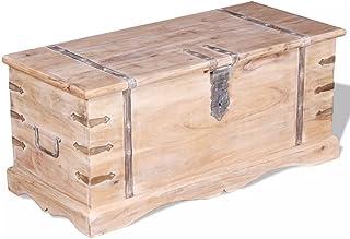 Shengtaieushop Coffre de Rangement Boîte de Rangement en Bois d'acacia