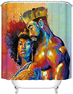 Fangkun Bathroom Shower Curtain Decor Set - African American Lover Couple King and Queen Oil Painting - Waterproof Polyester Fabric Bath Curtains - 12 pcs Shower Hooks (72 x 72 inches, YL201#)