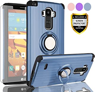 AYMECL LG G Stylo Phone Case,LG G4 Stylus Case with HD Screen Protector,(Not Fit LG G4) 360 Degree Rotating Ring Holder Travel Case Scratchproof Cover for LG LS770-SH Metal Slate