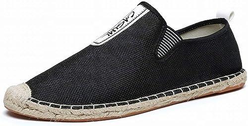 Fuxitoggo Canvas Schuhe Handgewebte Hanf Schuhe Freizeitschuhe Student Faul Fischer Schuhe (Farbe   Schwarz Größe   42)