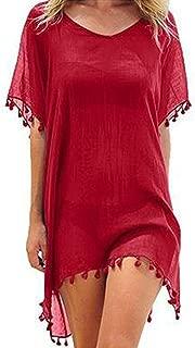 KQueenStar Womens Chiffon Tassel - Bikini Cover up Swimsuit Kaftan Chiffon Swimwear Beach Cover Up