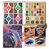 Mimore - Sombra de ojos de 63 colores, paleta de sombras de ojos de maquillaje metálico con brillo mate natural altamente pigmentado, suave, multicolor, combinable, impermeable