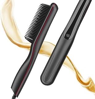 Hair Straightener Brush, Straightening Comb with Anti-Scald and 3 Heat Settings, 30S Fast Ceramic Heating Beard Straightener for Home, Travel and Salon