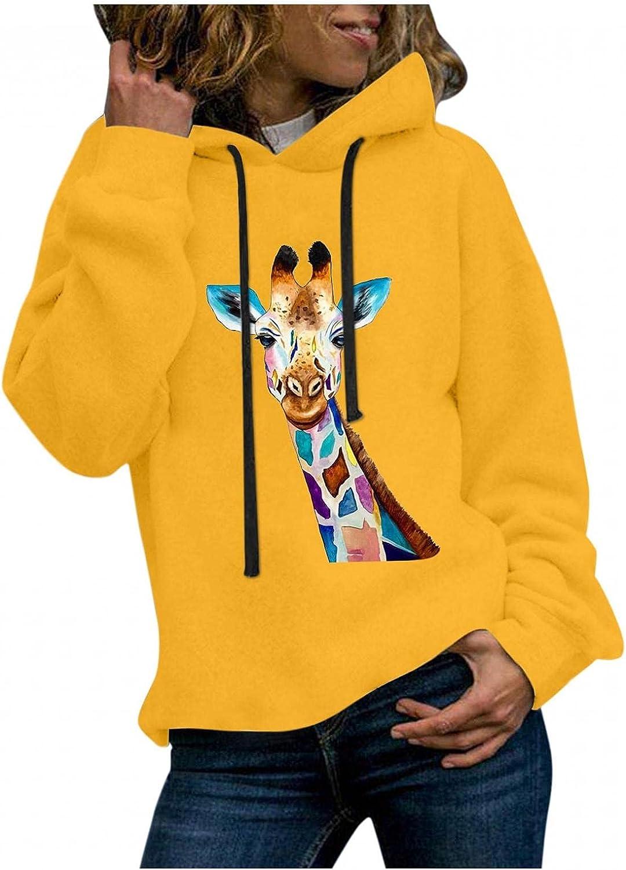 JIEXIJIA Women's Sweatshirts - Casual Print Cute Crewnec Finally resale start Giraffe supreme