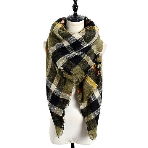 a1fc0368d6986 Sundayrose Plaid Blanket Scarf Oversized Square Tartan Shawl Wrap