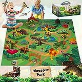 Fivejoy Dinosauro Giocattolo, Figura del Giocattolo del Dinosauro con 11 Dinasours e Tappetino Resistente - Educational Tappetino Dinosaur Compreso T-Rex Velociraptor, Regali per Ragazzi