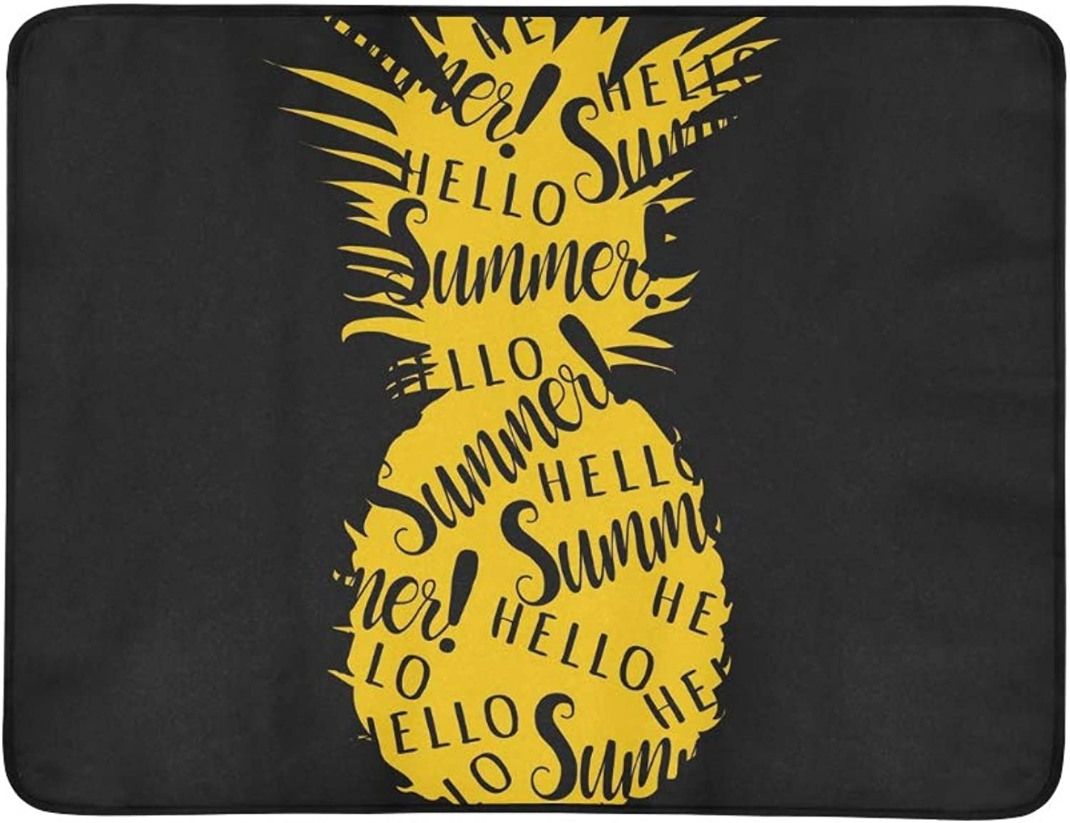 Pineapple Hello Summer Lettering Portable and Foldable Blanket Mat 60x78 Inch Handy Mat for Camping Picnic Beach Indoor Outdoor Travel