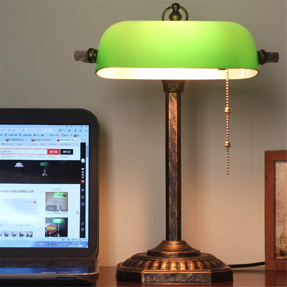 Desk Lamp Study Office Retro Classic Lighting Bedside Reading Lamp Rotatable Green Glass Shade Do The Old Octagonal Base Antique Sweeping Gold Metal Bankers Table Lamp E27 With Dual Control Switch Buy