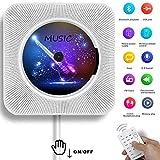 Lecteur CD Portable, Bluetooth, Montage Mural, Haut-parleurs HiFi intégrés, Home Audio Boombox avec télécommande Radio FM USB Prise Casque 3,5 mm AUX Entrée/Sortie avec Interrupteur à Tirette