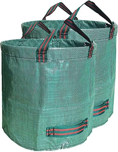 2X Gartenabfallsäcke,272L Selbsttragende Gartensack Abfallsack,Laubsäcke,Gartenabfallbehälter,Grünabfallsäcke aus robustem Polypropylen-Gewebe (PP)
