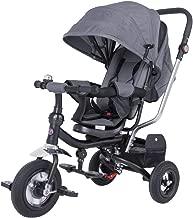Spielwerk Tríciclo Ajustable Antracita para Bebes y niños con Barra de Empuje Multifuncional Cochecito Asiento Giratorio