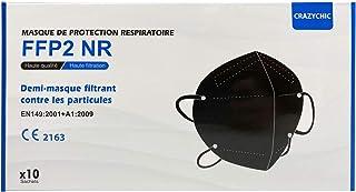 CRAZYCHIC - Mascarilla FFP2 Negra Homologada Certificada CE EN149 - Mascarilla de Protección Respiratoria - Protectora Res...
