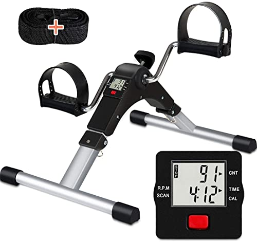 TABEKE Pedal Exerciser Under Desk Bike - Folding Pedal Exerciser for Arm/Leg Workout, Portable Desk Bike Peddler Exer...