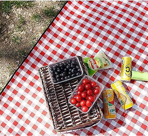 Yetta Home Tapis de Pique-Nique en Plein air à voiturereaux Rouges et Blancs Tapis de Camping Tapis épais Gazon de Printemps imperméable à l'eau (Taille   200x300cm)