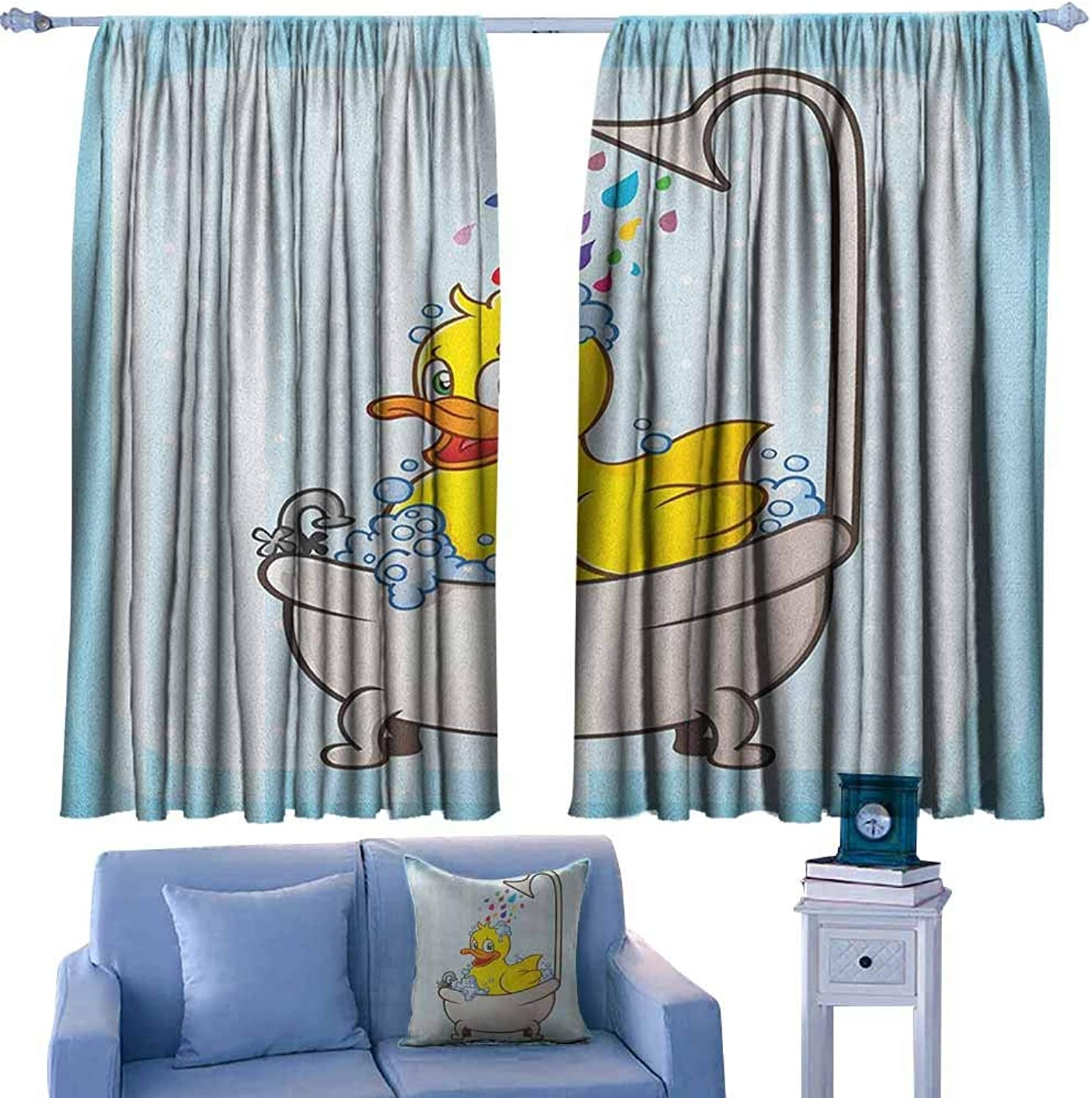 AndyTours Small Window Curtains,Duck Cartoon Character Taking a Bath colorful Drops bluee Backdrop with Dots Kids Nursery,Great for Living Rooms & Bedrooms,W55x63L Inches Multicolor