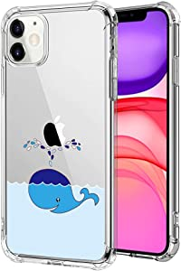 Clear Case for iPhone 11, Soft Silicone Cartoon Cute Blue Whale Creative Pattern Design Hard PC Back Slim TPU Transparent Shockproof Protective Cover Compatible with Apple iPhone 11 6.1 Inch