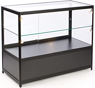 Free-Standing Glass Display Case, 48 x 38 x 23-3/4-Inch, Framed in Black Aluminum, Black Laminate Locking Bottom Cabinet