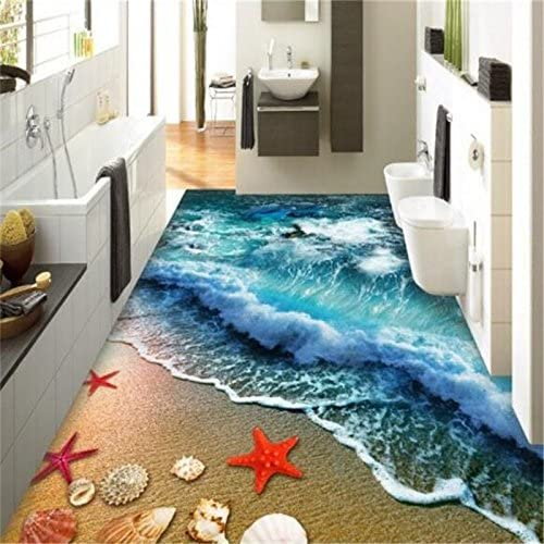 Lwcx Home Bathroom Bedroom Floor Self Adhesive 3d Wallpaper Beach Waves Surfing 3d Floor Tiles Painting 3d Flooring 250x200cm Amazon Com