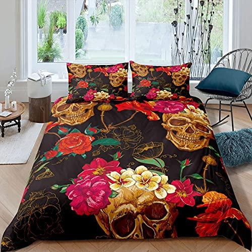 Amacigana Sugar Skull Poppy Rose Flower Juego de ropa de cama con diseño de calavera gótica en 3D, funda de edredón de 2 piezas con 1 funda de almohada (rojo y amarillo, 200 x 200 cm)