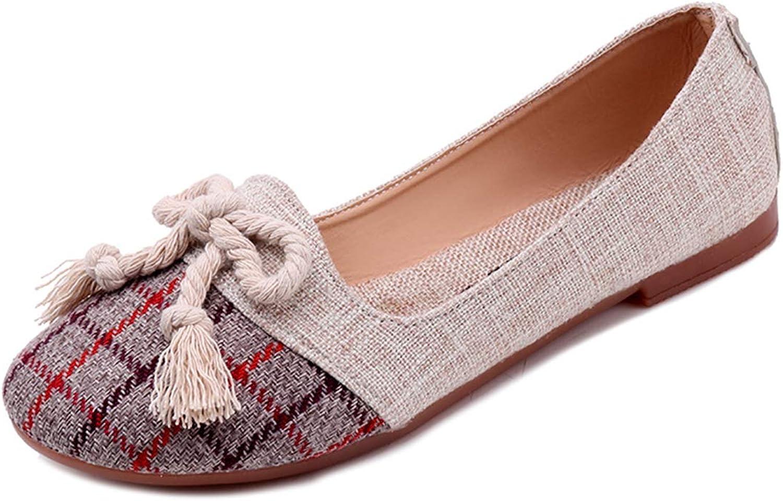 Owen Moll Women Flats, Plaid Slip-on Rround Toe Butterfly-Knot Ladies Ballet shoes