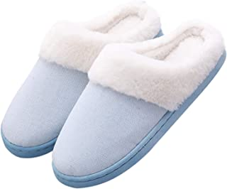 Hawiton Womens/Mens House Slipper Fuzzy Plush Lining Slip On Shoes Anti-Skid Sole for Indoor/Outdoor Winter